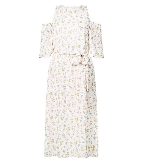 Cream Floral Print Cold Shoulder Tie Waist Midi Dress  | New Look