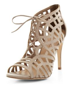 Light Brown Suedette Cut Out Ghillie Heels  | New Look