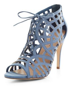 Pale Blue Suedette Cut Out Ghillie Heels  | New Look