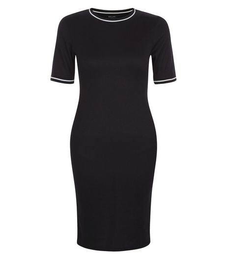 Black Stripe Ribbed Trim Bodycon Dress  | New Look
