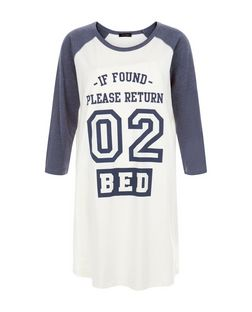 Navy Return 02 Bed Nightshirt  | New Look