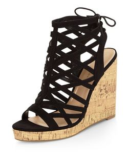 Black Suedette Laser Cut Out Peep Toe Wedges | New Look