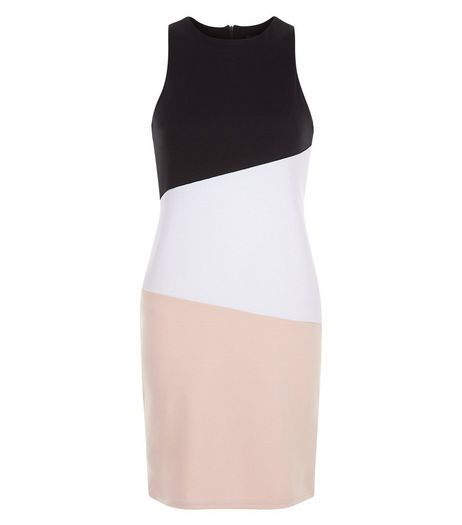 Black Colour Block Sleeveless Bodycon Mini Dress  | New Look