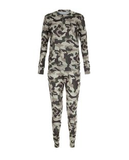 Blue Vanilla Green Camo Print Top and Jogger Set | New Look