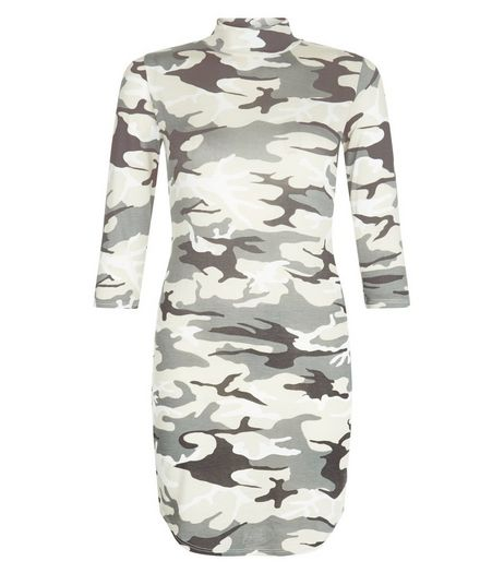 Blue Vanilla Green Camo Print Dress | New Look