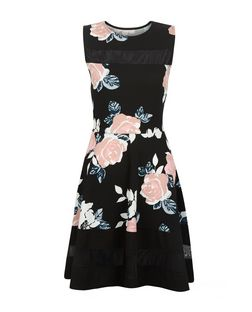 Cameo Rose Black Floral Print Mesh Panel Dress | New Look