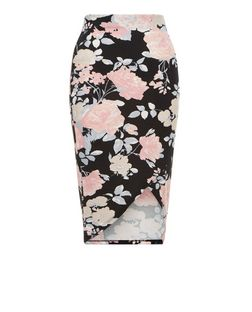 Cameo Rose Black Floral Print Wrap Front Midi Skirt  | New Look