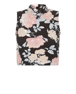 Cameo Rose Black FLoral Print Funnel Neck Crop Top  | New Look