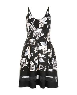 Cameo Rose Black Floral Print Skater Dress | New Look