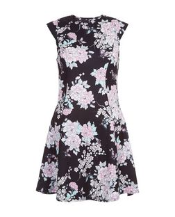 Cameo Rose Black Floral Print Cap Sleeve Dress | New Look