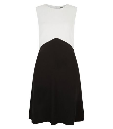 Black Colour Block A-Line Dress  | New Look