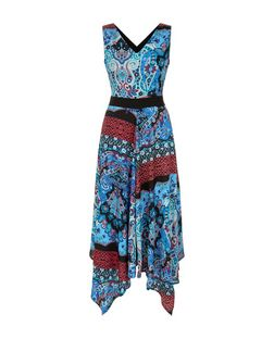 Mela Blue Paisley Print V Neck Dress | New Look
