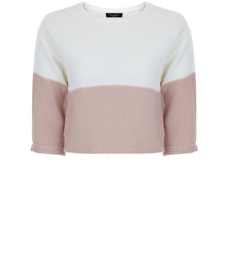 Teens Mid Pink Colour Block Jumper | New Look