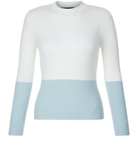 Teens Pale Blue Colour Block Jumper | New Look