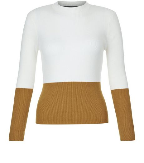 Teens Yellow Colour Block Funnel Neck Jumper  | New Look
