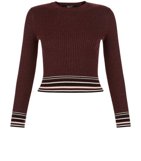 Teens Burgundy Stripe Trim Jumper | New Look