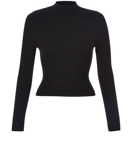 Teens Black Ribbed Funnel Neck Top | New Look