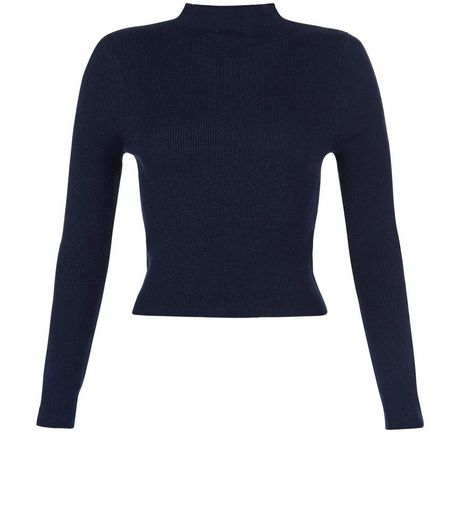 Teens Navy Ribbed Funnel Neck Top | New Look