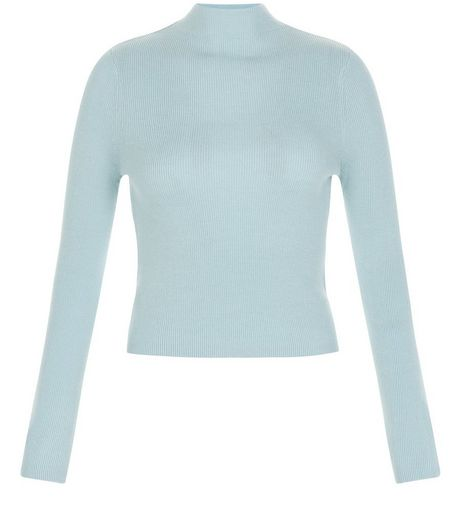 Teens Pale Blue Ribbed Funnel Neck Jumper | New Look