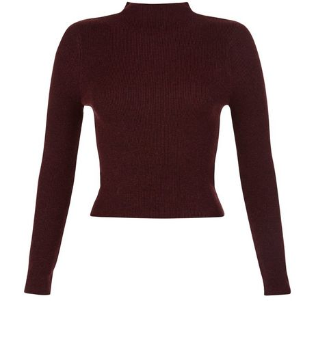 Burgundy Ribbed Long Sleeve Crop Jumper | New Look