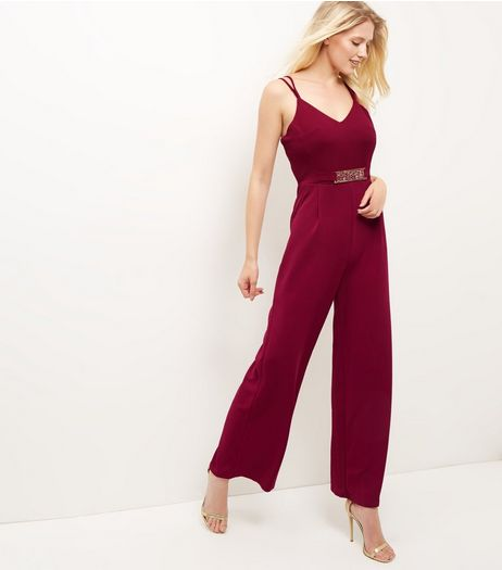 Mela Burgundy Belted Jumpsuit | New Look