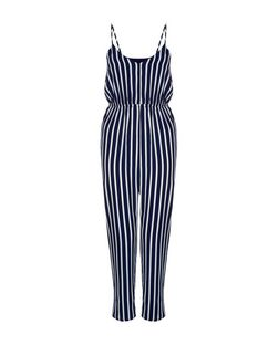 Mela Blue Stripe V Neck Playsuit | New Look