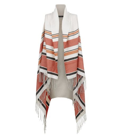 White Stripe Tassel Hem Blanket Wrap  | New Look