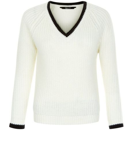 Teens Cream Contrast Trim V Neck Jumper | New Look