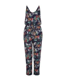 Mela Blue Tropical Print Jumpsuit | New Look
