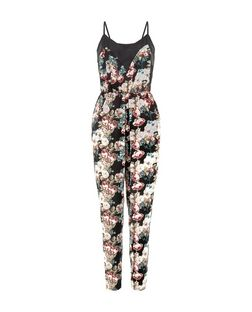 Mela Black Floral Print V Neck Jumpsuit | New Look