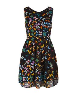 Mela Black Butterfly Print Skater Dress | New Look