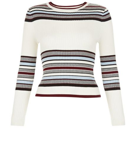 Teens White Stripe Ribbed Jumper | New Look