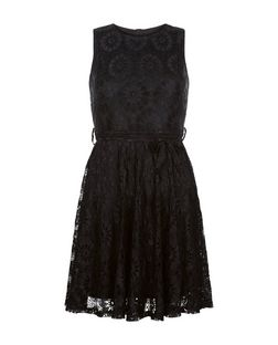 Mela Black Lace Skater Dress | New Look
