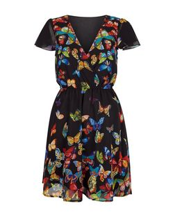 Mela Black Butterfly Print V Neck Dress | New Look