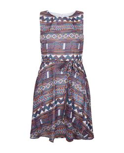 Mela Blue Aztec Print Skater Dress | New Look
