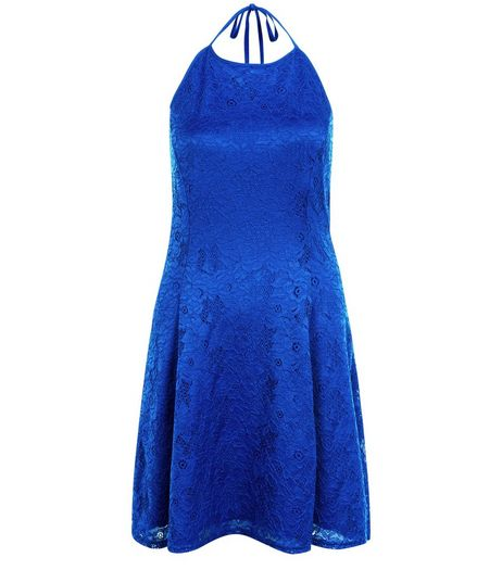 Bright Blue Flounce Lace Halter Neck Skater Dress  | New Look