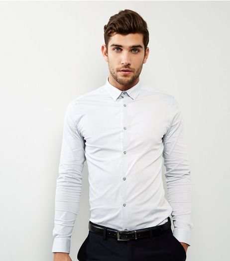 Pale Blue Stripe Collar Long Sleeve Shirt | New Look