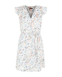 Cream Bird Print Frill Sleeve Wrap Dress | New Look