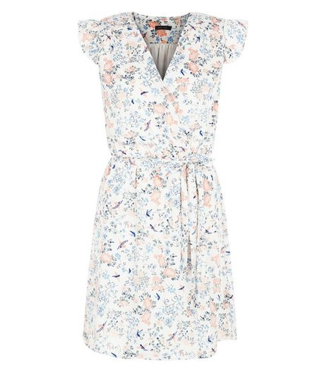 Cream Floral Bird Print Frill Sleeve Wrap Dress | New Look