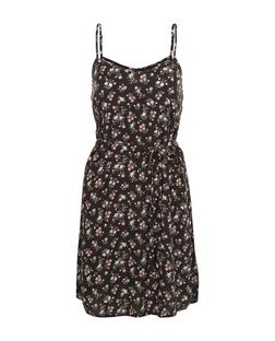 Black Floral Print Tie Waist Cami Dress  | New Look