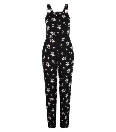 Black Ditsy Floral Print Dungaree Jumpsuit  | New Look
