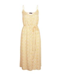 Yellow Ditsy Floral Print Button Front Midi Dress  | New Look