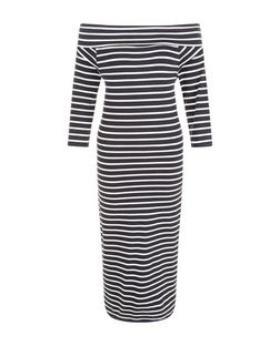 JDY Navy Stripe Bardot Neck Dress | New Look