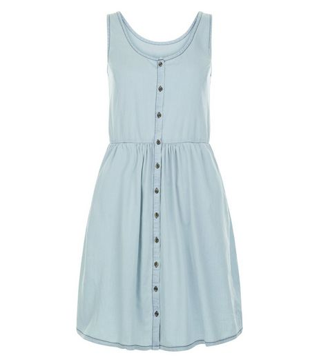 JDY Pale Blue Button Front Sleeveless Dress | New Look