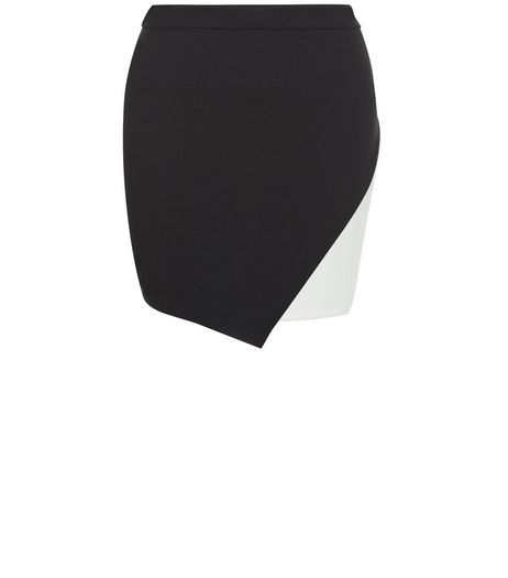 Teens Black Contrast Wrap Skirt | New Look