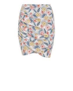 Teens White Tropical Print Wrap Skirt | New Look