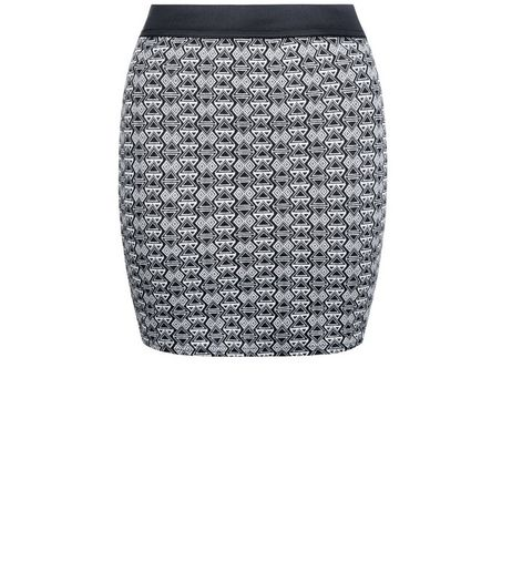 Teens Black Tile Print Jacquard Tube Skirt | New Look