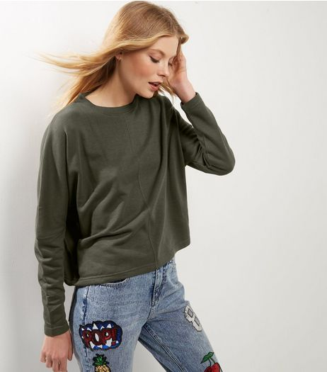 Olive Green Batwing Sleeve Crop Sweater | New Look