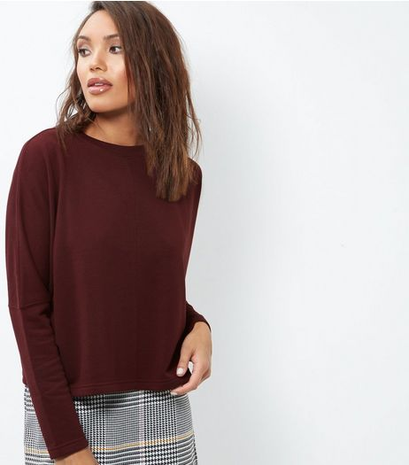 Burgundy Batwing Sleeve Cropped Sweater | New Look
