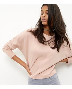 Mid Pink Batwing Sleeve Cropped Sweater  | New Look